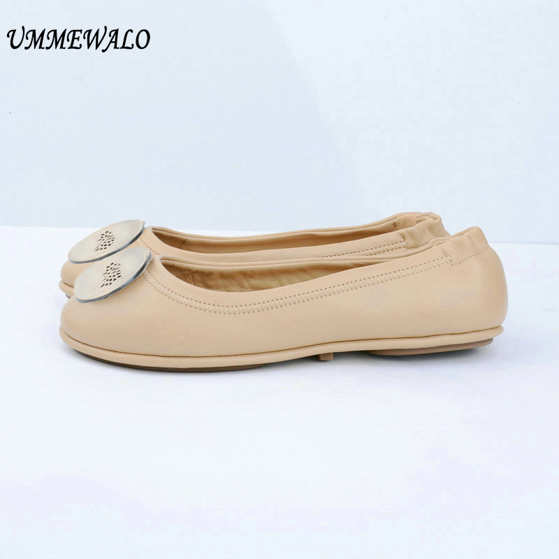 UMMEWALO Shoes Women Genuine Leather Soft Ballet Flat Shoes Woman Quality Ballerina Flats Ladies Casual Shoes ballerina wedding shoes women sweet candy ballet pointy pu leather shoes girls summer spring flat shoes butterfly bowknot
