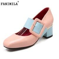 Mujeres del resorte zapatos de punta cuadrada de charol zapatos de tacones correa del tobillo de tacón bajo el talón único calzado P23444 tamaño 31-46