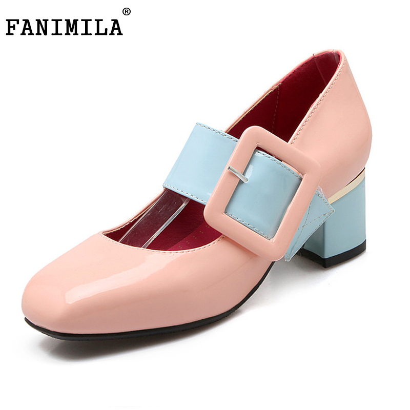 spring women shoes square toe patent leather low heel pumps unique ankle strap heeled footwear heels shoes P23444 size 31-46 square heels 7 5 cm sapatos femininos high heels shoes woman round toe patent leather spring pumps t strap comfortable shoes