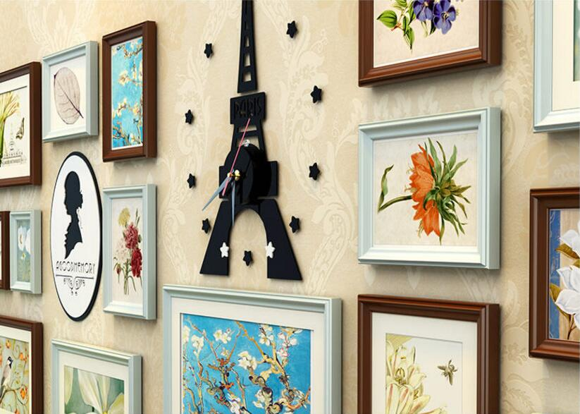 Creative 16 pcs/set Collage Photo Frame with Tower Clock,Black White ...