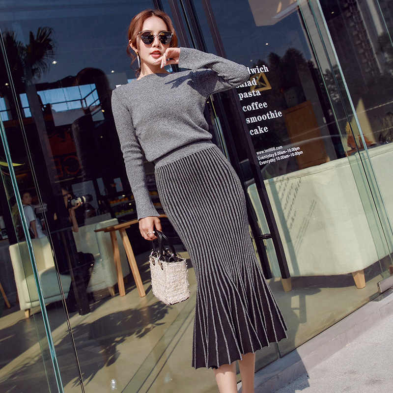 b3ebbf118b1a6 2 piece set women Suit female Sweater Set New Autumn Lady Suits Tops+Skirt  Fashion
