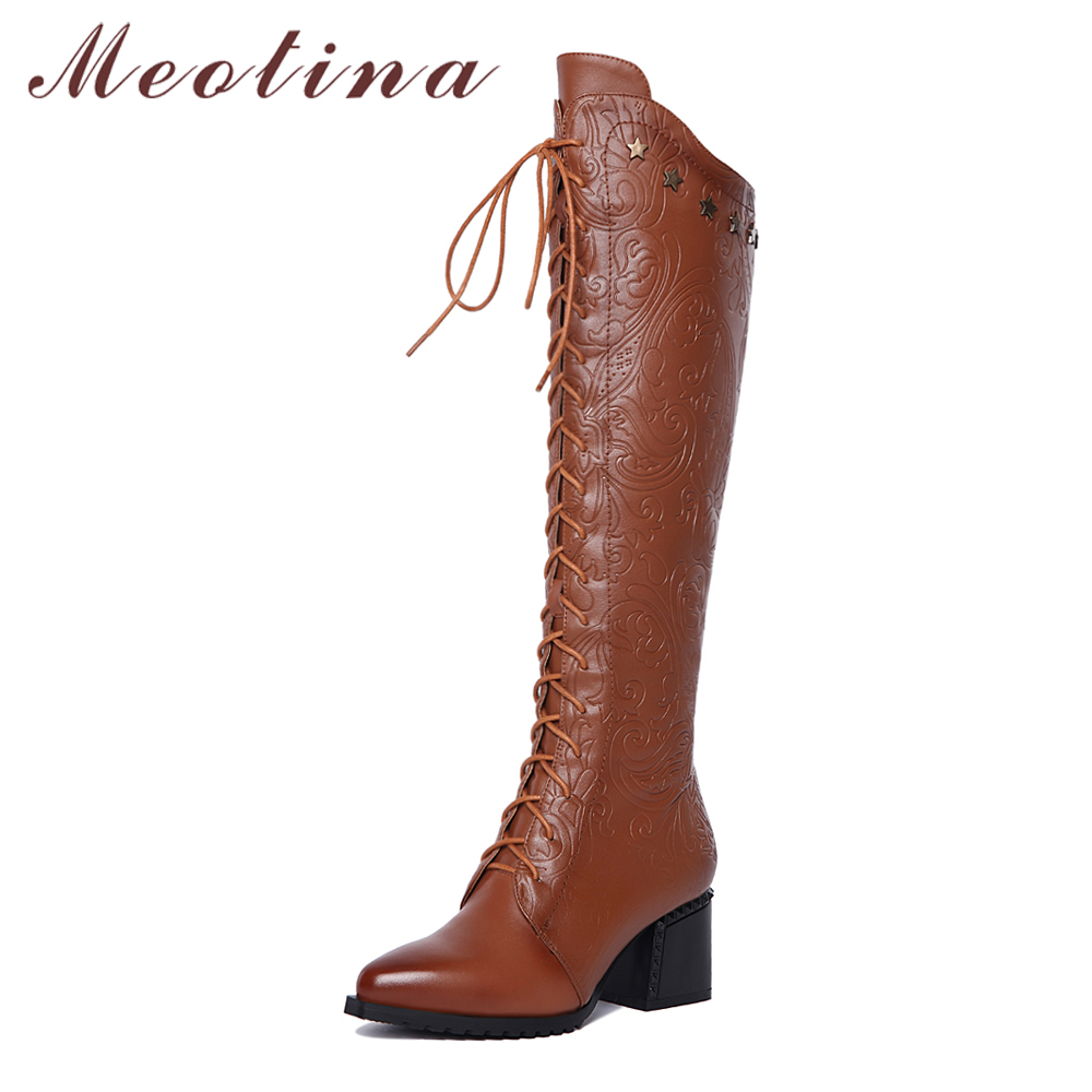 Meotina Winter Women Boots Over the Knee Boots Natural Genuine Leather Block Heel Long Boots Real