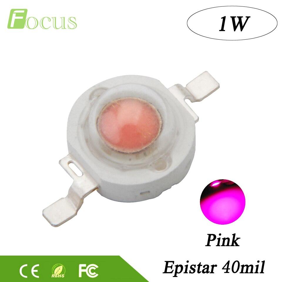 50pcs High Power LED Chip 1W COB LED Beads Lamp Light Pink Epistar 3.2V - 3.4V for DIY LED Floodlight Spotlight