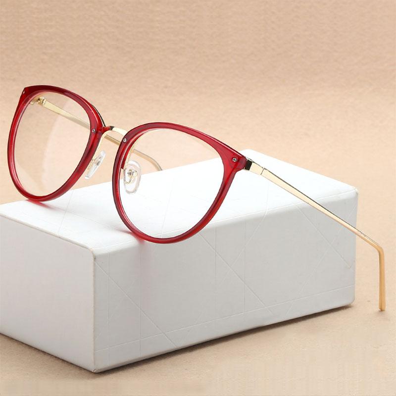 Moda óptica gafas Marcos miopía montura completa de metal mujeres gafas oculos de Grau gafas de prescripción