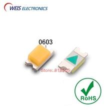 100PCS 0603 SMD LED white 6000-7000k / warm 2800-3200k cold 8000-11000k  1.6*0.8mm 2.8-3.0v 20mA Free shipping