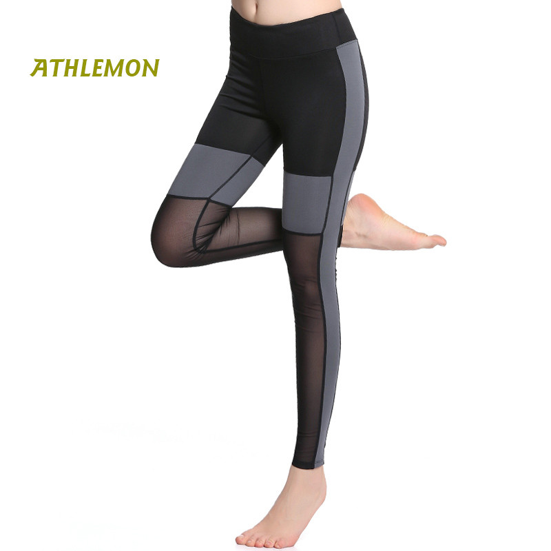 High Waist Women Gym Leggings Patchwork Sexy Mesh See Through Push Up Leggings Running Fitness Workout Compression Pants Women