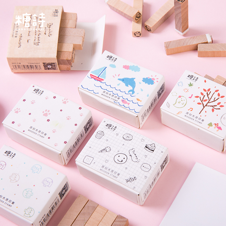 12pcs/lot Cute Animal Plants Girl Decoration Stamp Wooden Rubber Stamps For Scrapbooking Stationery DIY Craft Standard Stamp