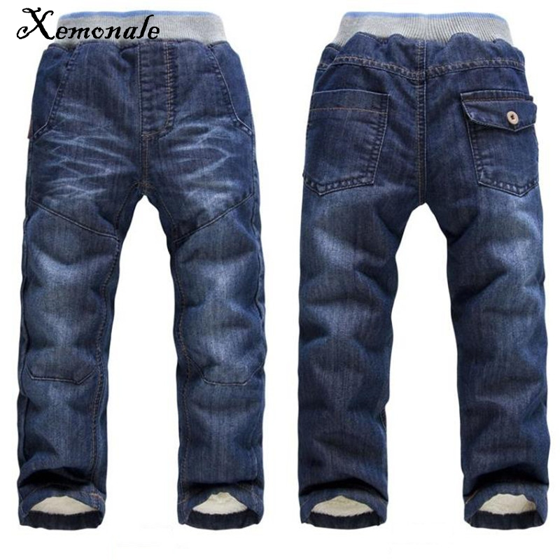 Xemonale New Arrival Boys jeans trousers casual jeans Thick Winter Warm Pants Children Fashion cotton winter pants 2017 winter light wash boys jeans for boys solid warm thicken children s jeans boys pants ripped hole children fashion jeans