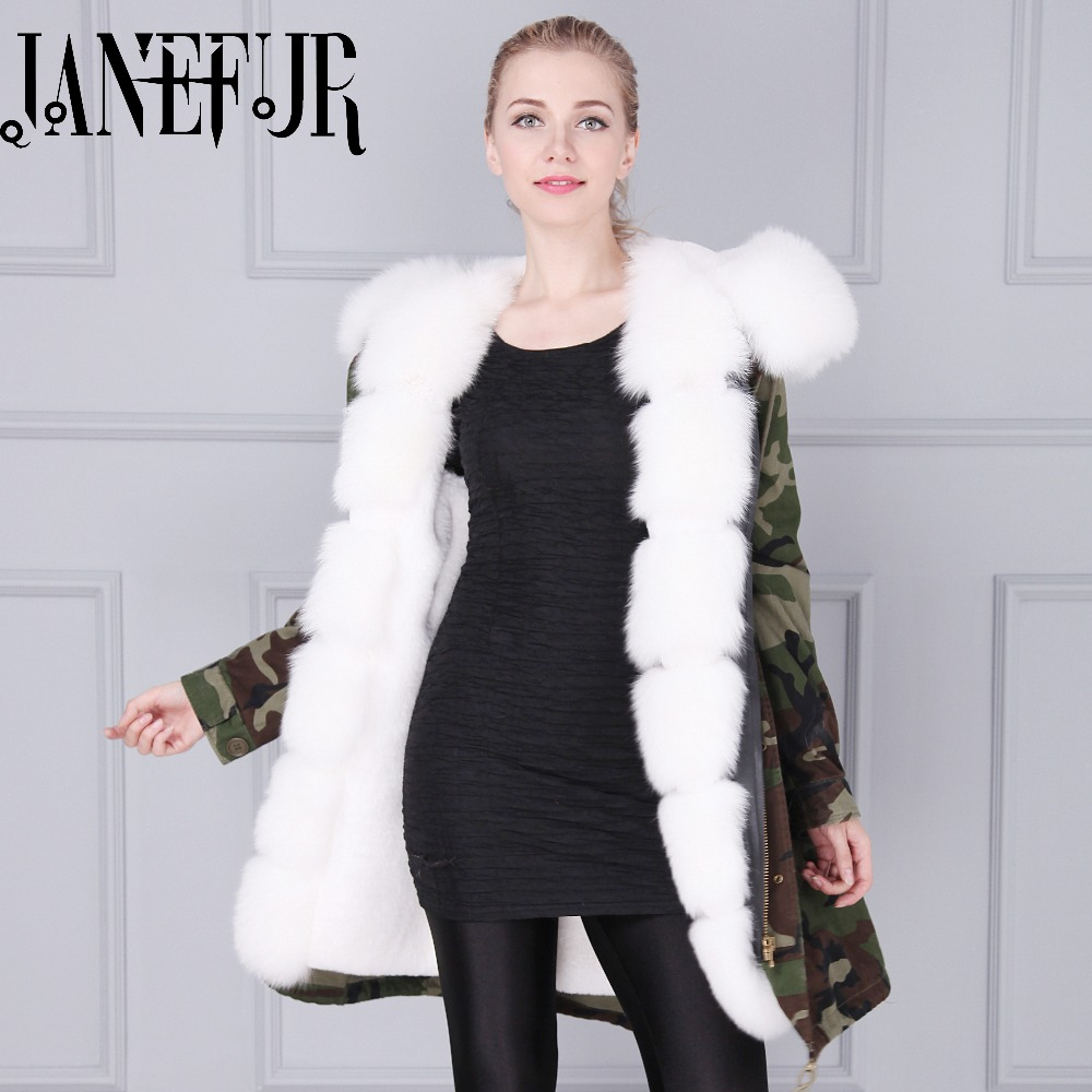 Fashion Military Women Winter Army Green Camouflage Warm Fox Fur Jacket Parka Zipper Button Outwear Coats Female High Quality