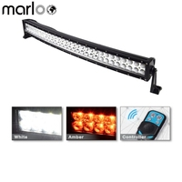 Marloo Curved 180w 32inch White & Amber Led light bar fog lights Combo Strobe Light For Jeep,Truck, UTV, 4X4 Remote Controller