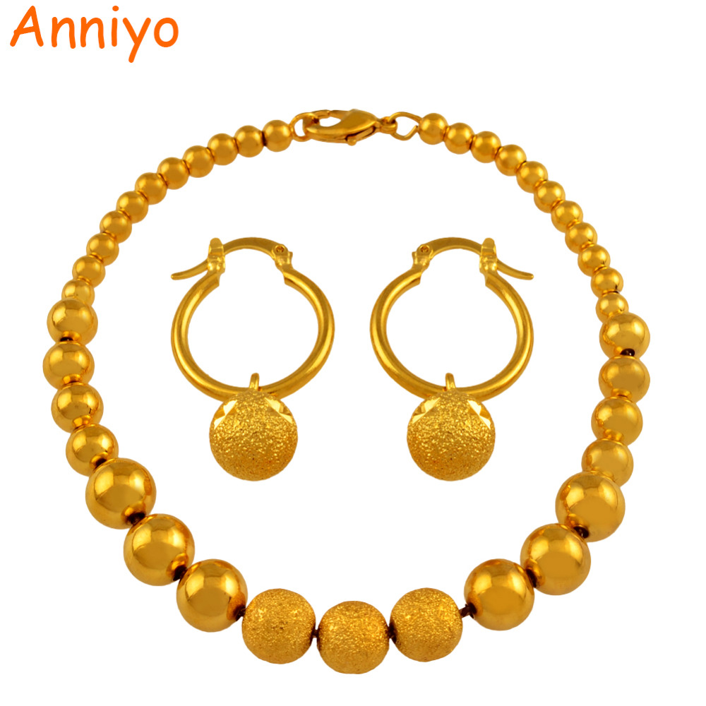 Anniyo Ball Beaded Earrings Bracelet set Jewelry Gold Color Women Wedding for Arab African Ethiopian Indian #047706