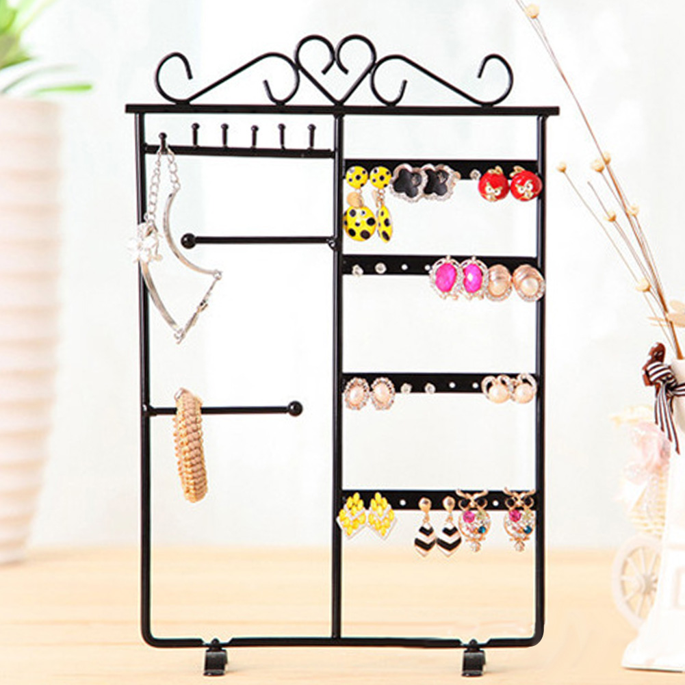 Fashion 32 Holes Jewelry Hanging Holder Earrings Necklace Studs Jewelry Display Rack Metal Stand Organizer Holder
