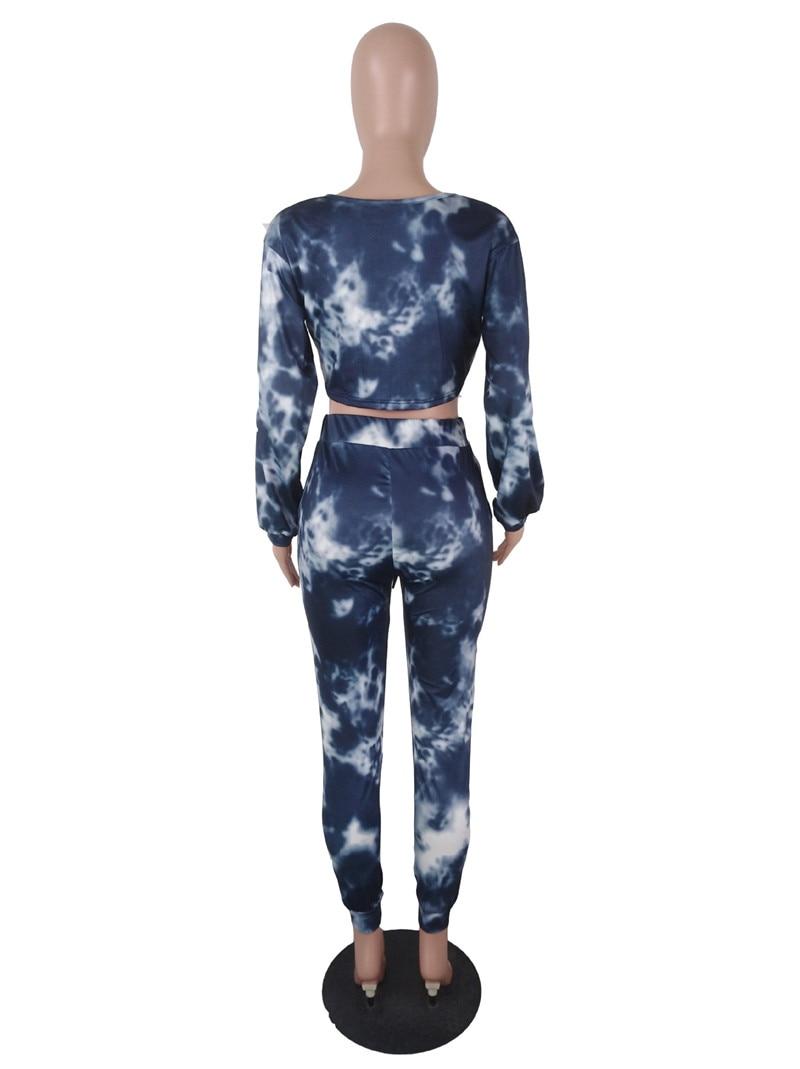 81f1b87de45 Autumn Winter Two Piece Set Sweat Suits Women Tracksuit Long Sleeve Tie Dye  Crop Top Sweatshirt and Long Pants Set Jogging Suits-in Women's Sets from  ...