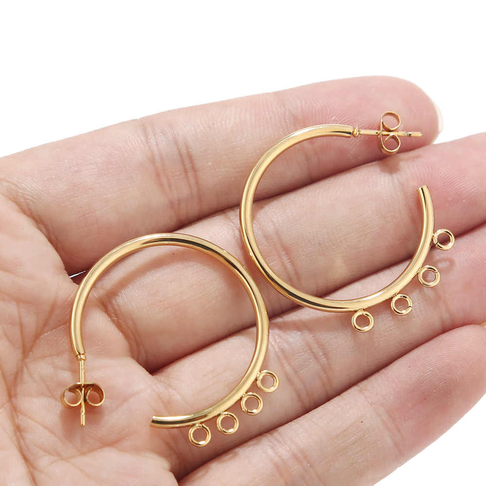 6 pcs 30mm נירוסטה זהב/שחור/כסף טון עגיל ממצאי C צורת אוזן הרבעה עם 4 לולאות
