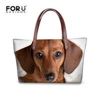FORUDESIGNS New Women Handbags 3D Dachshund Dog Womens Cross Body Bags Animal Prints Tote Female Shoulder