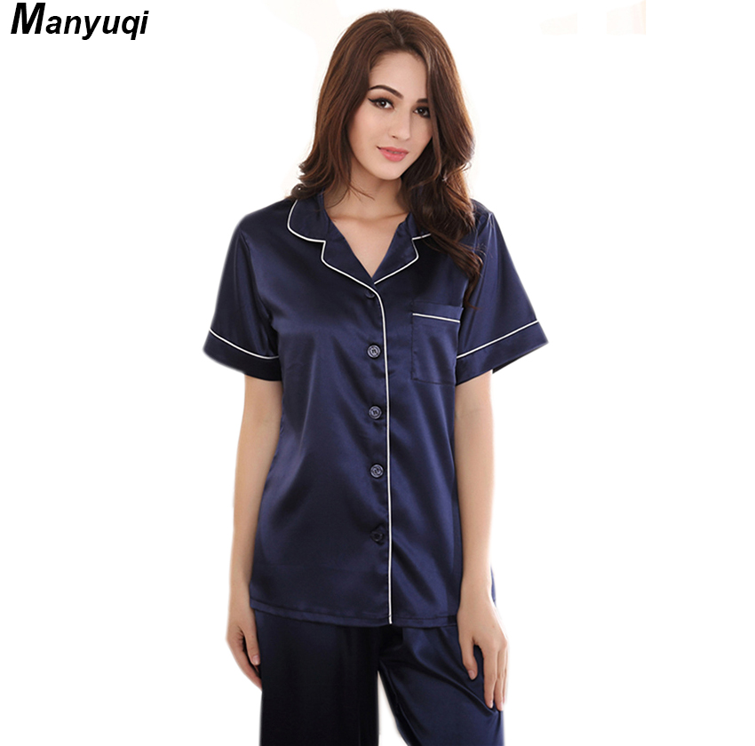 6ee0ea1846 Women s silk pajamas set navy olor short sleeve and long pants pajamas suit  home sleepwear pyjamas for women-in Pajama Sets from Underwear   Sleepwears  on ...