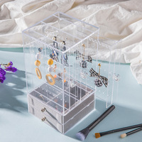 Acrylic Earring Display Stand Organiser Holder Earring Studs Storage Clear Jewelry Organizer Box Rack with Drawer5.1*5.1*10 Inch