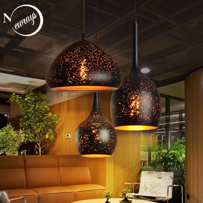 Vintage art deco industrial black iron pendant light LED E27 with 7 styles for living room dining room bedroom cafe hotel office industrial art deco iron black pendant light led e27 loft vintage hanging lamp with switch for living room restaurant bedroom