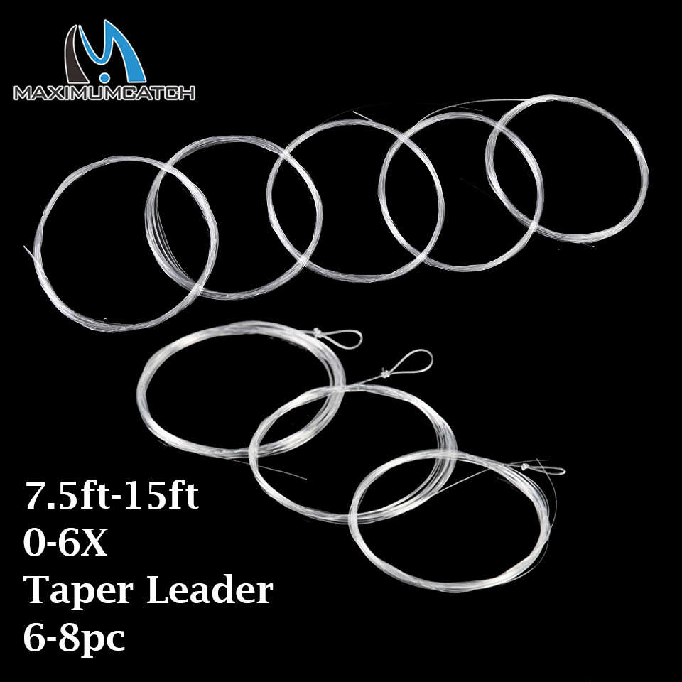 Aventik 5pcs Pack Fly Fishing Line Tape Leader 12ft 15ft With Knot Loop Leader
