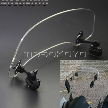 Clear Motorcycle Extension Tour Wind Screen Spoiler Adjustable Air Flow Deflector Add On Windshield for Triumph Aprilia Honda universal motorcycle windshield airflow adjustable windscreen extension deflector windshield spoiler small