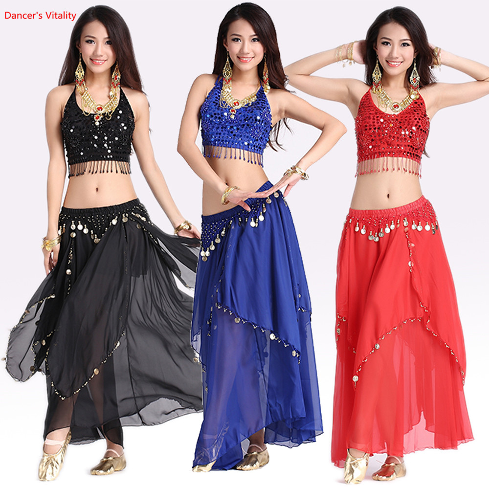 Kvinnor mage dacing kläder 5 blommor topp + guld mynt kjol 2 st mage dans kostym för dam mage dans kläder