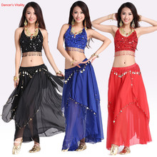 Women belly dacing clothing 5 flowers top+gold coins skirt 2pcs belly dance suit for lady belly dance clothes