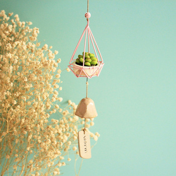 Zakka Japanese style psychedelic forest iron Wind Chimes ceramic resin hanging decoration wind chimes 5