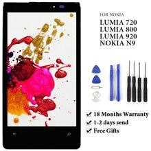 สำหรับ Nokia Lumia 720 N720 / 920 RM 822 RM 821 / 800 N80 LCD Touch Screen Digitizer สำหรับ Nokia N9 จอแสดงผล LCD กรอบ