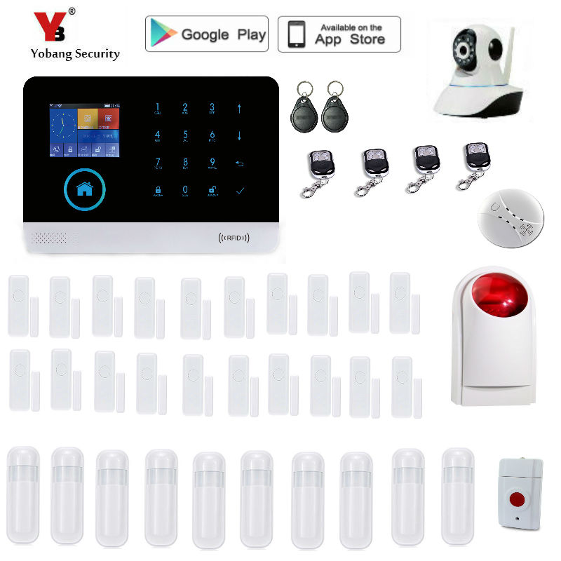 Yobang Security Wireless Home Security WIFI 2G GPRS GSM Alarm system APP Remote Control RFID burglar alarm yobang security rfid gsm gprs alarm systems outdoor solar siren wifi sms wireless alarme kits metal remote control motion alarm