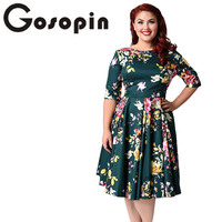 Gosopin Vintage Plus Size Elegant Lady Club Dresses Print Floral Half Sleeve Dress 2018 Spring Party