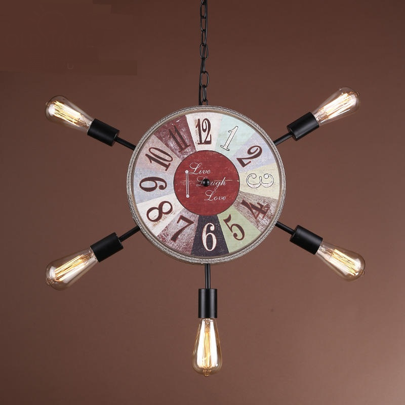 Retro industry Clock pendant lights attic art restaurant cafe bar home lamp personality wooden 5 heads pendant lampS ZA GY205