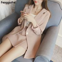 Hot Selling New 2018 Vertical Stripes Long Suit Jacket Half Skirt Suit Ladies Fashion Casual Suit +Skirt Two Piece Set