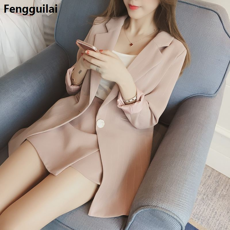 Hot Selling New  Vertical Stripes Long Suit Jacket Half Skirt Suit Ladies Fashion Casual Suit +Skirt Two Piece Set