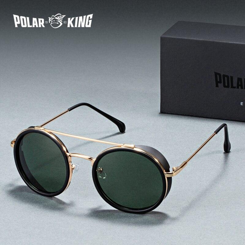 Polarking marca retro steam punk polarizado homens redondos óculos de sol gafas de sol condução metal óculos de viagem