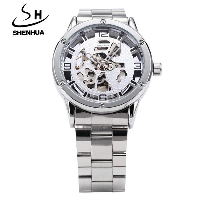 Nova Moda Relógios Homens Marca De Luxo À Prova de Choque À Prova D' Água Mecânico Automático de Esqueleto Relógios de Pulso Liga Vencedor reloj hombre