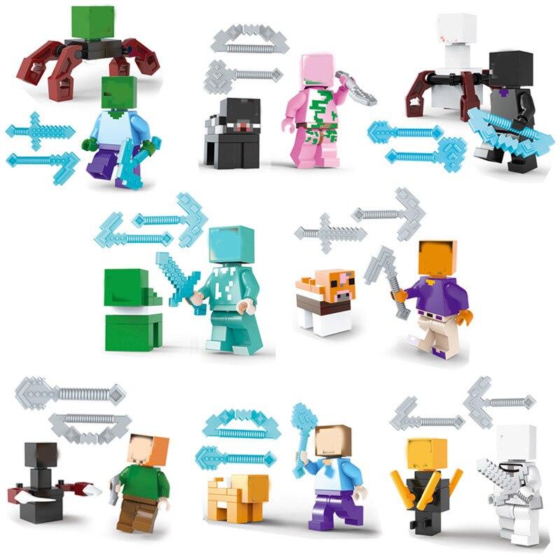 16Pcs My World Figure font b Building b font Blocks Zombie Compatible LegoING Minecrafted Steve Alex