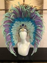 אופנתי ומעודן כיסוי ראש נוצות סמבה ריקוד קרנבל ליל כל הקדושים המפלגה לטיני ריקוד בר ביצועים כובע MASQUERADE