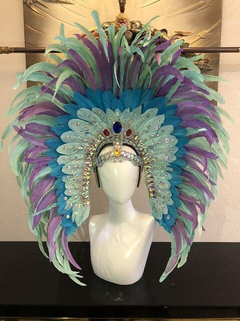 المألوف ورائعة غطاء الرأس الريش السامبا الرقص كرنفال هالوين حفلة الرقص اللاتينية بار الأداء قبعة حفلة تنكرية