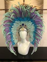 Moda ve zarif HEADDRESS tüyler SAMBA dans karnaval cadılar bayramı partisi LATIN dans BAR performans şapka MASQUERADE