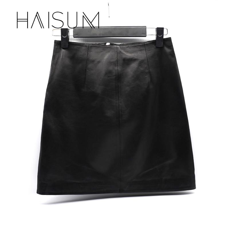 Una Slim Faldas Mujeres Black Bolsillo Elegante 2018 Le009 Remache Falda Top Piel Natural Nuevo De Cintura Mini Cuero Club Bodycon Haisum Oveja IwTqUzHw