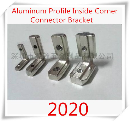 10 pcs/lot T Slot L Shape Type 90 Degree  2020 Aluminum Profile Accessories Inside Corner Connector Bracket with M5 Screw 10 pcs lot silver color metal corner brace right angle l shape bracket 20mm x 20mm home office furniture decoration accessories