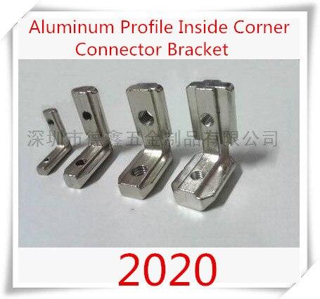 10 unids/lote T ranura en forma de L tipo 90 Degree 2020 perfil de aluminio accesorios Inside esquina conector soporte con M4 tornillo