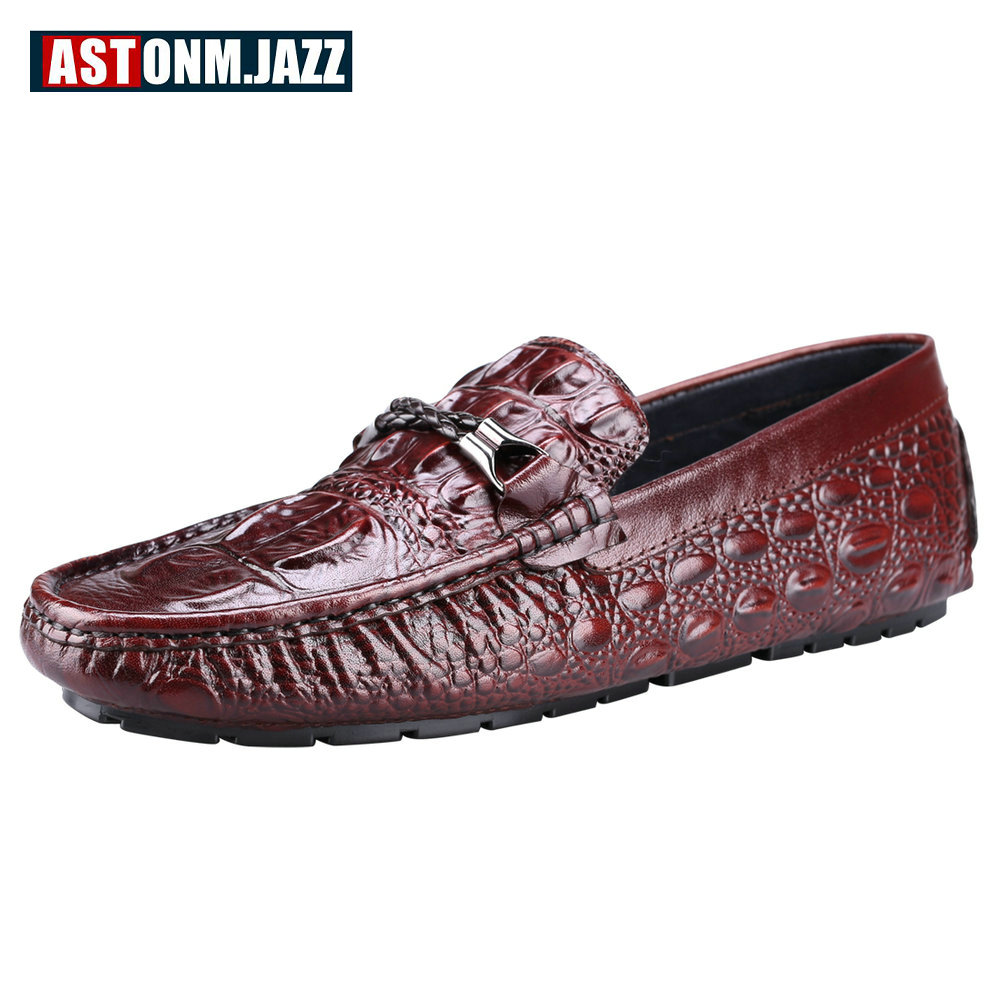 Men's Casual Crocodile Genuine Leather Driving Shoes Slip-on Velet Loafers Moccasin Fashion Flat Shoes Men's Boat Shoes Business men s crocodile emboss leather penny loafers slip on boat shoes breathable driving shoes business casual velet loafers shoes men