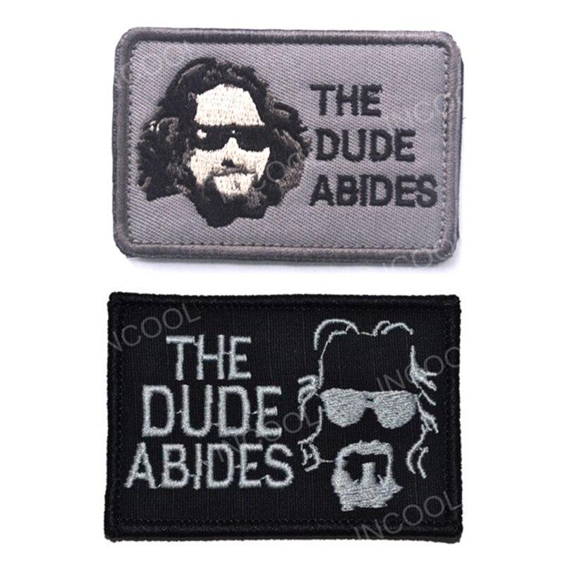 30 PCS Dude Abides Embroidery Patch Military Morale Patch Tactical Emblem Appliques Combat Embroidered Badges Wholesale