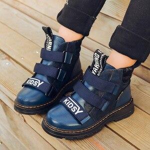 Image 4 - Winter Jungen Stiefel Kinder Schuhe Neue Junge Echtem Leder Mode Martin Stiefel Student Turnschuhe Plus Samt Warme Kinder Schnee Stiefel