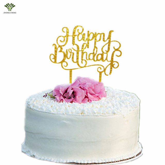 Happy Birthday Cake Topper Letter Cake Stand Picks Acrylic Glitter ...