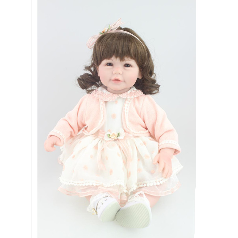 18 Inch Adorable Reborn Doll Babies Girl Doll with Clothes,Vivid Vinyl Dolls Toys for Girls Gift Children Birthday Present american girl doll clothes for 18 inch dolls beautiful toy dresses outfit set fashion dolls clothes doll accessories