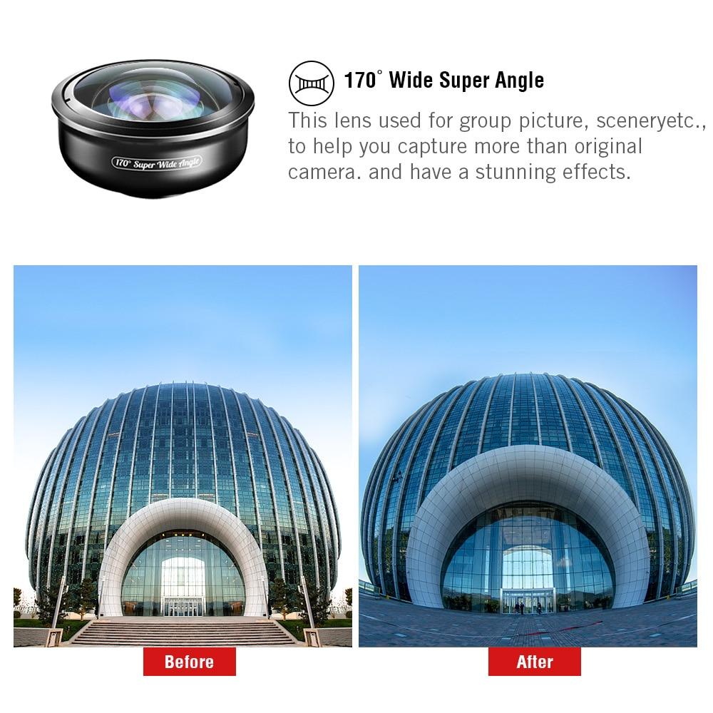 5 в 1 объектив для камеры телефона Комплект HD 4K широкоугольный телескоп Супер Рыбий глаз Макро телефон линзы для samsung Xiaomi huawei объектив - 3