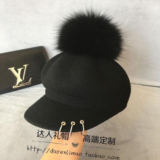 Большой три кольца кроу сердце восьмиугольная кепка съемный верно женский лиса волосяная луковица конный шляпа