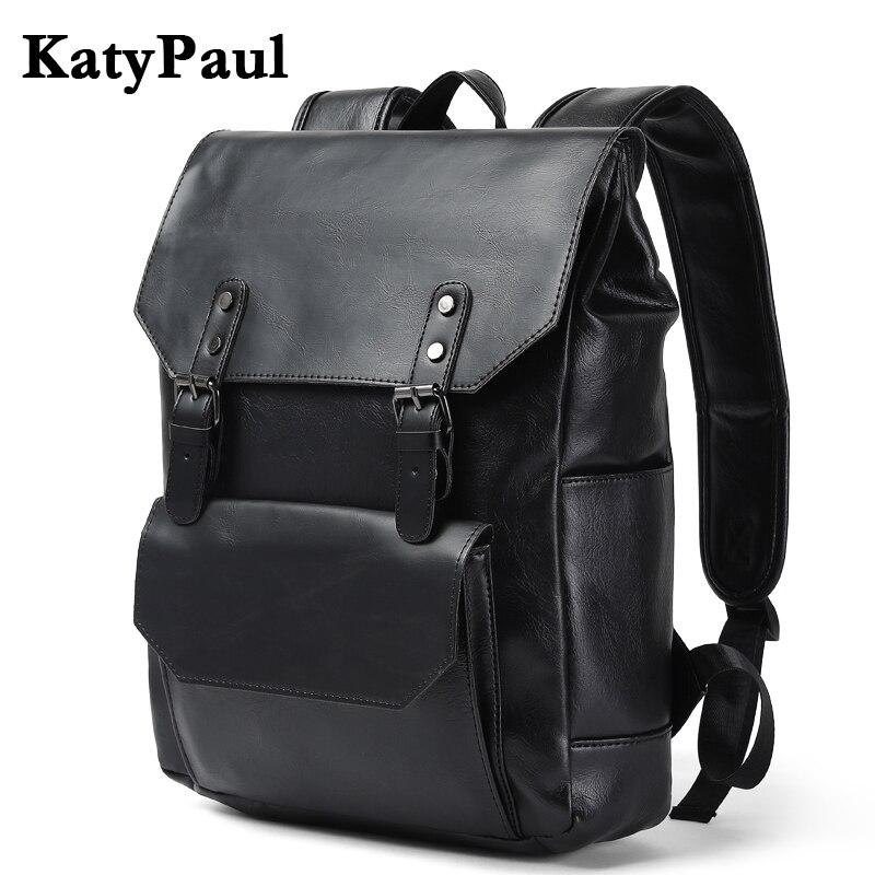 KatyPaul Brand Leather Men Backpacks Casual Daypacks Fashion Boy Vintage Laptop Shoulder School Bag Korean Travel